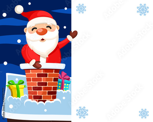 Santa Claus sits in the chimney of the house and points to a white shield, a place for text Fototapet