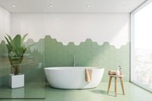 Green And White Tile Bathroom Interior, Tub