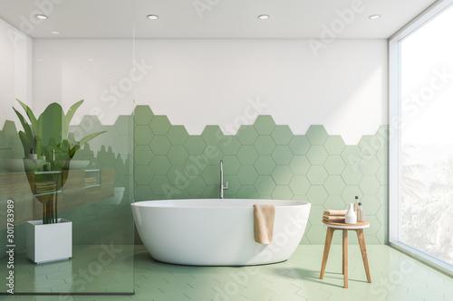 Cuadros en Lienzo Green and white tile bathroom interior, tub