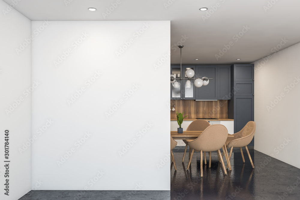 Fototapety, obrazy: White and gray kitchen with table and mock up