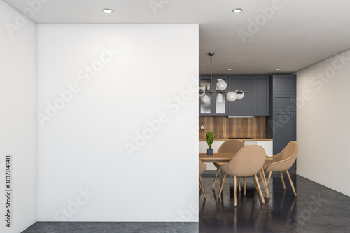 Poster Fleur White and gray kitchen with table and mock up
