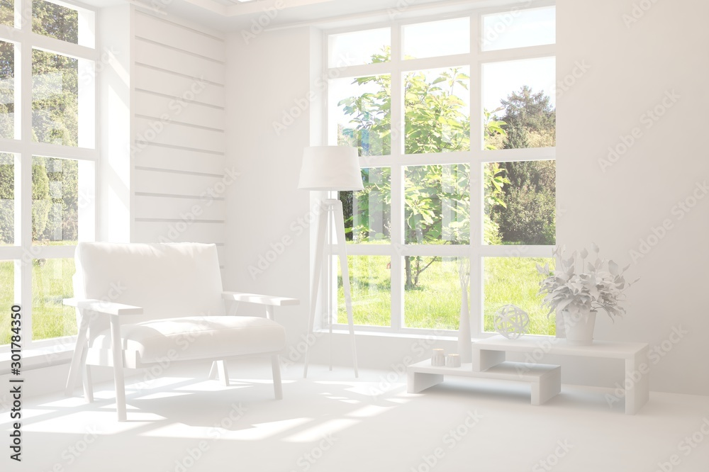 Fototapety, obrazy: Mock up of stylish room in white color with armchair and green landscape in window. Scandinavian interior design. 3D illustration