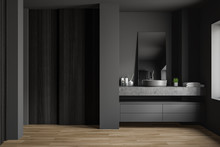 Gray And Wooden Bathroom Interior With Sink