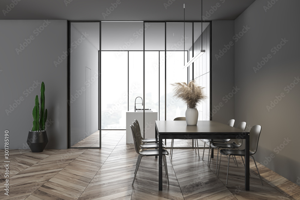 Fototapety, obrazy: Side view of gray dining room and kitchen