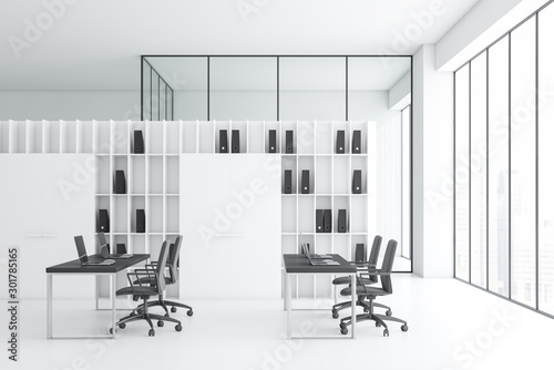 Poster Fleur White open space office with bookcase