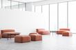 Leinwanddruck Bild - White office lounge with orange sofas