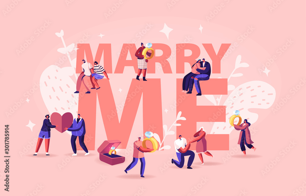 Fototapeta Marry Me Concept. Men Making Romantic Proposal to Women, Giving Engagement Ring Standing on Knee. Love Relationship Marriage and Family Poster Banner Flyer Brochure. Cartoon Flat Vector Illustration