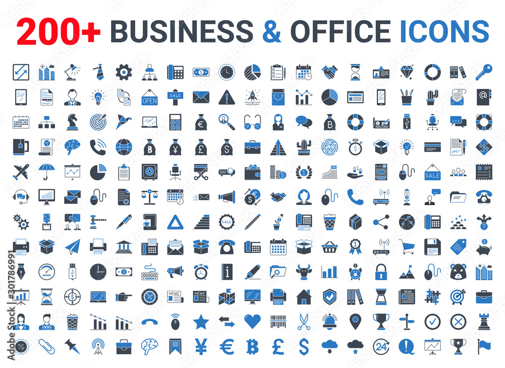Fototapety, obrazy: Business, office, finance icons set. Blue and Black