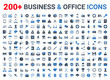 Business, office, finance icons set. Blue and Black