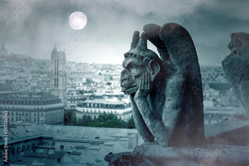 Foggy Night and Moon Light over The Gargoyles of Notre Dame in Paris - 301786965