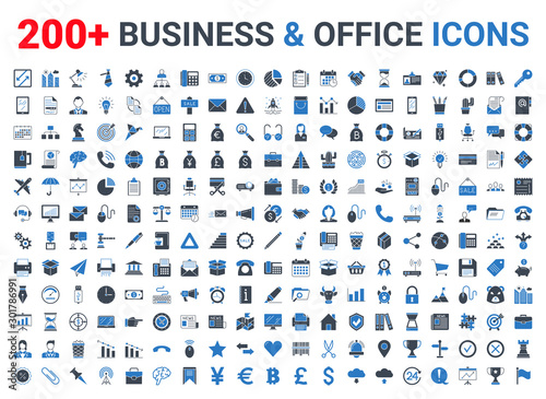 Fotografía Business, office, finance icons set. Blue and Black