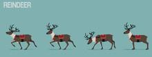 Set Of Walking Reindeer With C...