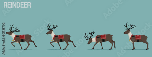 Pinturas sobre lienzo  Set of walking reindeer with Christmas theme decoration.