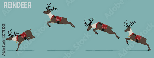 Fotomural  Set of jumping reindeer with Christmas theme decoration.