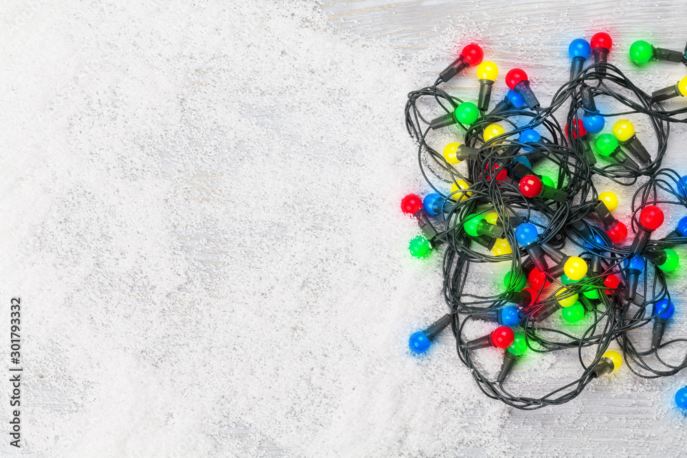 Fototapety, obrazy: Christmas greeting card with xmas lights