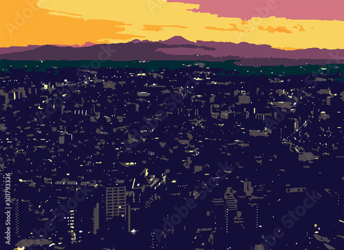 Vector - Tokyo Skyline with Mt. Fuji in Background at Sunset Canvas Print