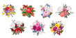Set of bouquets of beautiful painted flowers. Decor elements for greeting cards, wedding invitations, birthday and other celebrations. Isolated on white background.