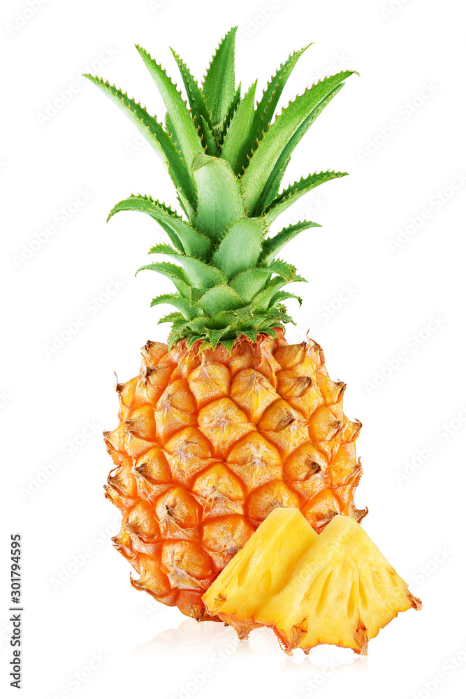 Fototapeta One whole pineapple and two slices isolated on white