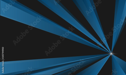 Fotografía  Blue line triangle and black background