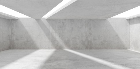Abstract empty, modern concrete room with skylight from ceiling wall - industrial interior background template, 3D illustration