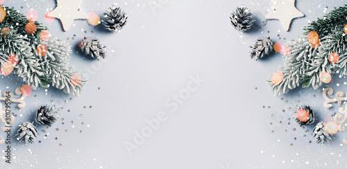 Obraz Christmas and happy new year flat lay card - fototapety do salonu