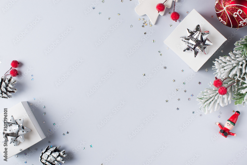 Fototapeta Christmas and happy new year flat lay card