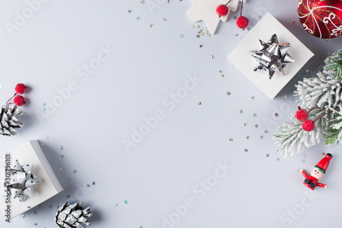 Obraz Christmas and happy new year flat lay card - fototapety do salonu