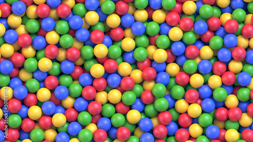Dry children's pool with colorful plastic balls