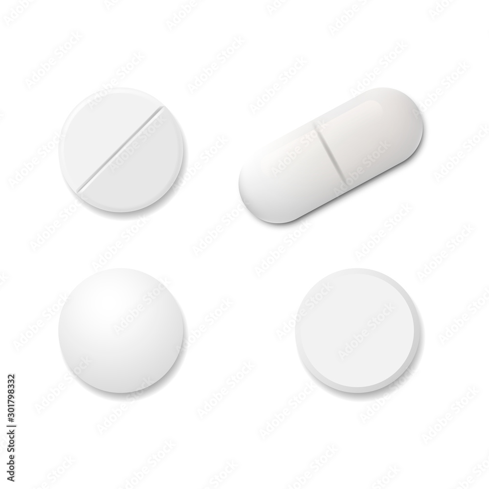 Fototapeta Realistic set pills isolated on white background. Vector illustration.