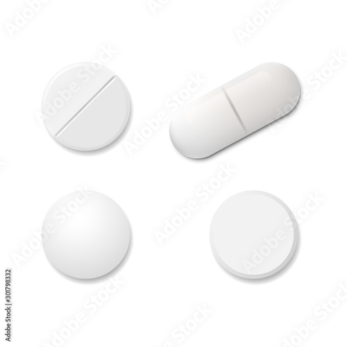 Realistic set pills isolated on white background Wallpaper Mural