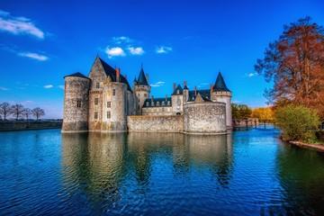 Famous medieval castle Sully sur Loire, Loire valley, France.