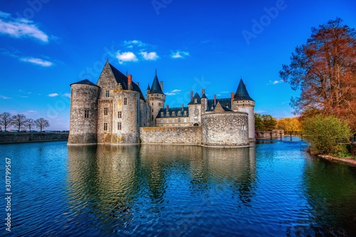 Fototapeta Famous medieval castle Sully sur Loire, Loire valley, France. obraz