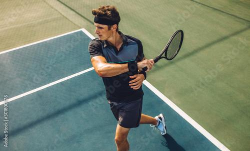 plakat Tennis player practicing forehands