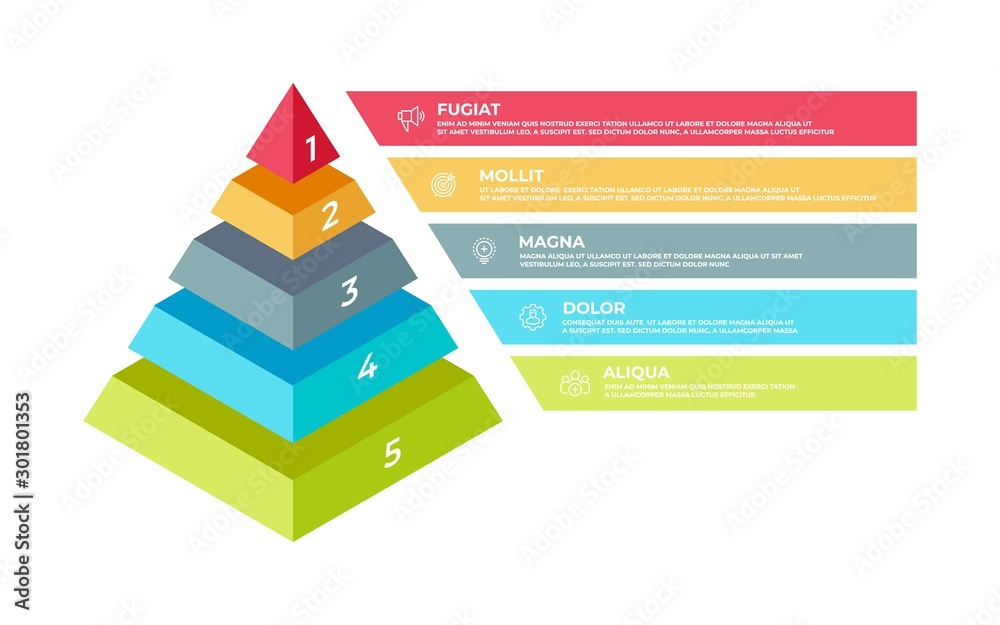 Fototapeta Step 3D infographic. Isometric pyramid business presentation template, step structure. Vector illustration planning technologies elements or business plan concepts with digital ladder success