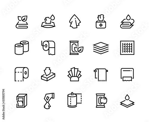 Fototapeta Towels and napkins line icons. Textile bathroom and restroom towels, dispenser with hygiene paper doily. Vector set sign packaging domestic wet tissue napkins for clean hands or cleaning table toilet obraz