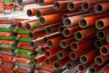 échafaudage, Tube, Tubes, Structure,acier, Orange, Vert,coloré, Couleur, Industriel, Abstrait, Modèle, Texture, Rack, Empilé, Empilée, Métal, Couleurs, Construction, Rénovation, Fer, échaffaudage, Ple