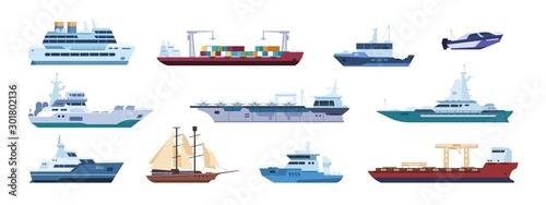 Flat boats Wallpaper Mural