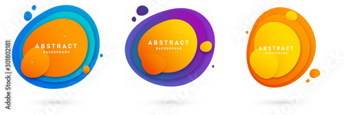 Vászonkép Set of three round colorful vector shapes with gradient colors and trendy design