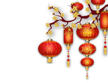 Chinese Red Lanterns Isolated On White Background. Chinese New Year. Asian Decoration Elements Flowers. Chinese Spring Festival. Vector