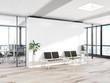 Leinwandbild Motiv Blank white wall in concrete waiting room with large windows Mockup 3D rendering