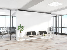 Blank White Wall In Concrete Waiting Room With Large Windows Mockup 3D Rendering