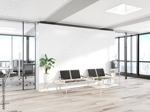 Obraz Blank white wall in concrete waiting room with large windows Mockup 3D rendering - fototapety do salonu