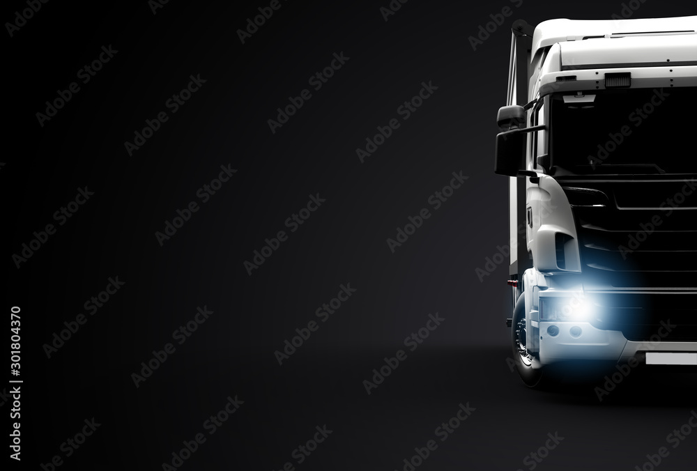 Fototapeta Front view of a truck on a black background