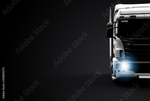 Fototapeta Front view of a truck on a black background obraz