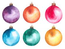 Watercolor Christmas Balls. Ho...