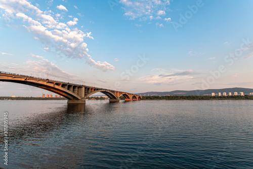 Fototapeta The bridge over the Yenisei River  summer evening, Krasnoyarsk, Russia. obraz