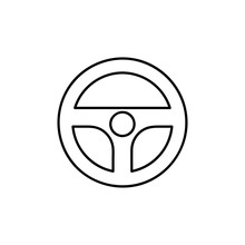 Steering Wheel Icon. Car, Auto Vector Line Icon. Automobile, Machine, Drive Symbol. Linear Style Sign For Mobile Concept And Web Design. Wheel Symbol Illustration. Pixel Vector Graphics - Vector.