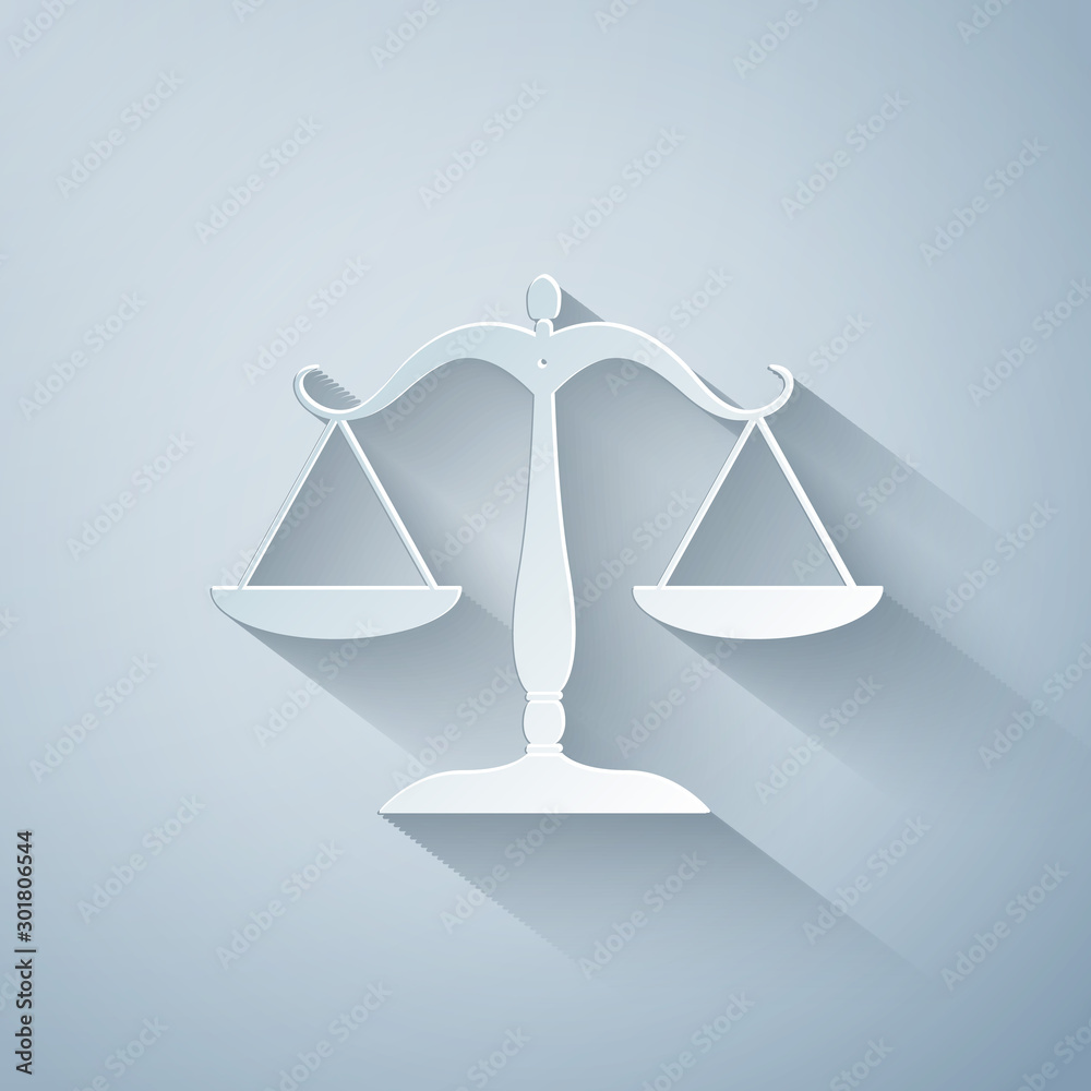 Fototapeta Paper cut Scales of justice icon isolated on grey background. Court of law symbol. Balance scale sign. Paper art style. Vector Illustration