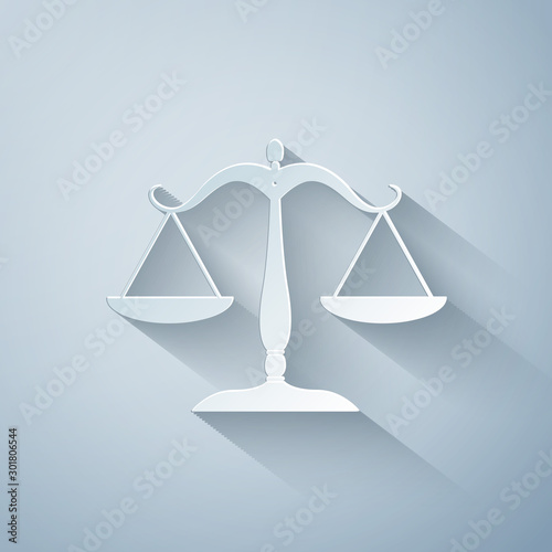 Fotografie, Obraz Paper cut Scales of justice icon isolated on grey background