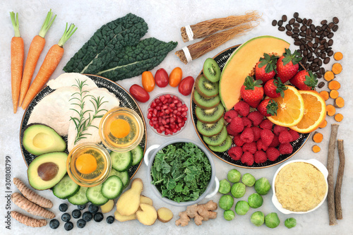 Healthy food collection for asthma sufferers, high in protein, omega 3, antioxidants, vitamins and minerals Canvas Print